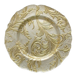 """Jay Companies - Gold Vanessa Glass Charger - Enhance the romance at your elegant affairs with this Charge it by Jay Vanessa Gold Charger Plate! Featuring upscale embossing on its solid glass body, and intriguing scalloped edges, this distressed gold charger plate makes the ideal addition to the finest wedding receptions, anniversary parties, and other celebratory occasions. Serve food in elegance with this attractive charger plate, adding a new focal point to any table that it graces.    * Measures: 13""""D"""