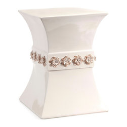 Cream Color Hourglass Ceramic Garden Stool w/ Floral Accents - *This soft cream colored garden stool features an hourglass shape and a band of hand crafted dimensional flower accents.