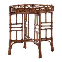 Lexington - Tommy Bahama Home Island Estate Key Largo End Table - Leather bound rattan becomes an art form and complements the cracked pen shell stationary tray top. Metal accents adorn the top of the legs.
