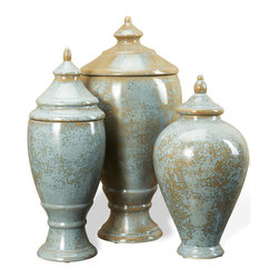 Kathy Kuo Home - Huxley Robins Egg Blue and Brown Lidded Decorative Jars Urns - Bridging the sophisticated and the organic is one of the many charms of French country style.  This trio embody this perfectly in the earthy shellish glaze and classical, subtly Asian silhouettes.  City or country, these three are always appropriate.