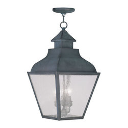 Livex Lighting - Livex Lighting 2456 Vernon Outdoor Pendant - Livex Lighting 2456 Vernon Three Light Outdoor PendantDesigned to resemble the classic outlines of a kerosene lamp, the Vernon three light outdoor pendant features a beautiful curved roof with a chimney style decoration topped by a ringed finial. The four large seeded glass panes will create a timeless rustic atmosphere for any home.Livex Lighting 2456 Features: