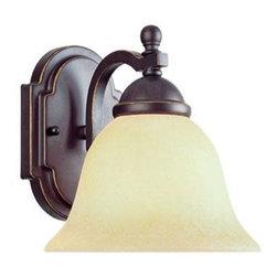 Joshua Marshal - One Light Slate Cream Scavo Glass Bathroom Sconce - One Light Slate Cream Scavo Glass Bathroom Sconce