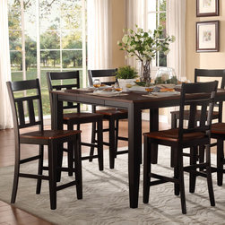 Homelegance - Homelegance Westport 5 Piece Counter Height Table Set in Black & Cherry - The two-tone black and cherry finish of the Westport Collection provides a timeless look to your casual dining room. Coordinating wood chairs match the black table legs that rise to support the expandable cherry finished tabletop. The Westport Collection is offered in both counter and traditional dining heights.