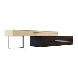 """Modloft - Gramercy TV Stand, Wenge / Beige Lacquer - Create a wall unit to fit any size wall. The Gramercy media console offers a new creative perspective where the boundaries of materials, colors, and innovation merge. The Gramercy combines a wood base with a lacquered mezzanine supported by a stainless steel leg. Lengthen (up to 130"""") or shorten (down to 86"""") the overall unit by adjusting the position of the mezzanine unit, allowing you great flexibility to accommodate any wall size. Base features two full extension drawers, while mezzanine features one full extension drawer. European soft-closing glides enable effortless drawer movement. Available in two-tone combinations, including wenge wood/beige lacquer and walnut wood/black lacquer. Minor assembly required (legs detached). Imported."""