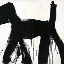 Peter Mayer, Dog Painting (Black and White), Painting - Artist:  Peter Mayer