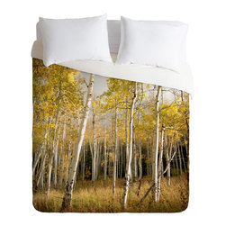 DENY Designs - Bird Wanna Whistle Golden Aspen Duvet Cover - Turn your basic, boring down comforter into the super stylish focal point of your bedroom. Our Luxe Duvet is made from a heavy-weight luxurious woven polyester with a 50% cotton/50% polyester cream bottom. It also includes a hidden zipper with interior corner ties to secure your comforter. it's comfy, fade-resistant, and custom printed for each and every customer.