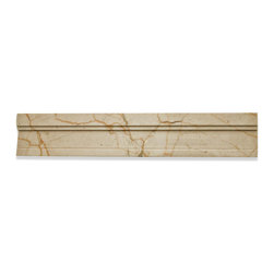 Novel Crema Marfil Chair Rail Marble Tile Liner - Novel Crema Marfil Chair Rail Marble Tile Liner Natural Variation from Piece to Piece Size: 2x12 Color: Crema Marfil Material: Stone Finish: Polished Sold by the Piece Thickness: 13mm x 19mm