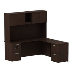 "BBF - Bush 300 Series 72"" L-Shape Desk with 4-Door Hutch in Mocha Cherry - Bush - Commercial Grade Office - 300S061MR -Functional beauty plus sophisticated styling comes standard with the BBF Mocha Cherry 300 Series 72""W x 22""D Small Space Desk (B/B/F) with 48""W Return. Desk's narrow profile offers extra workspace yet fits in the tightest places. The 48""W Return lets you spread out comfortably. Five drawers, both B/B/F and F/F, hold all necessary papers, documents or office supplies. Tall Overhead Hutch helps keep desk areas clear and has an open center section for large books or oversize manuals. Height matches other 300 Series hutches for side-by-side configurations. Four enclosed compartments hold supplies, electronics or personal items."