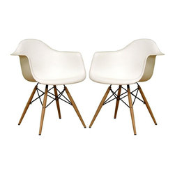 Wholesale Interiors - Baxton Studio White Bucket Chairs with Wood Accent Legs - 2-Piece Set - If you appreciate unique and unusual design, this incredible Baxton Studio set of two chairs is just for you. Contemporary bucket style seats are supported by black-coated steel supports and shapely solid wood legs. Pure white heavy-duty plastic seats are perfectly contoured to surround your body and feature curved-edge arms for additional comfort. This terrific set is sure to cause a stir and spark lively conversation wherever you place them. The retro simplicity of these classic white accent chairs will instantly enhance the modernity of your room. Each of these contemporary chairs is made from durable molded plastic with an ergonomically-shaped and curved seat. The legs are wooden and include steel hardware in black as well as black plastic tips to protect sensitive flooring.