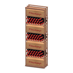 Vinotemp - Case Bin Wood Wine Rack - Floor standing. Made from premium redwood. Fits 153 bottles. 24 in. W x 12 in. D x 73.37 in. H (50 lbs.). Assembly required. Made in USA. Custom made: 8 to 10 weeks lead time. Seven case bin compartments. Provides an attractive and functional wine storage area. Holds all sizes wine bottles. Hand made. Completely customizable. WarrantyThese racks are a great modular option to build your own wine room.