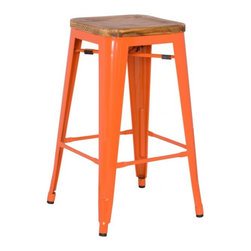 NPD (New Pacific Direct) Furniture - Metropolis Backless Stool w/Wood Seat (Set of 4) by NPD Furniture, Orange, Bar H - Unique, modern Metropolis metal barstool that will get your guests talking for months. Stop playing safe and get ready to wow the crowd. These metal barstools (Set of 4) are designed to be make your feel special. Backless design for simplicity and easy storage. Place this chair anywhere in your lovely home to receive instant compliment.