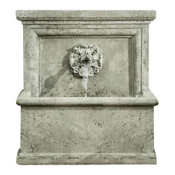 Campania - St. Aubin Garden Water Fountain, Alpine Stone - This mesmerizing St. Aubin Fountain will make a strong and stunning accent for your garden setting. Like something straight out of the south of France in Arles, this wonderful wall fountain will complete any outdoor space. The lovely sounds of the trickling water will being a serene and tranquil touch to your outdoor living space.