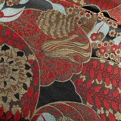 Quinn Traditional Floral Upholstery Fabric in Multi - Quinn Traditional Floral Upholstery Fabric in Multi has an intricate floral pattern in shades of red, brown, tan and ice blue. This fabric has a hearty hand ideal for upholstering furniture or creating accent pillows. Made from a blend of 71% rayon and 29% polyester, this upholstery fabric passes 24,000 double rubs on the Wyzenbeek Abrasion Test. Cleaning Code: S; UFAC: Class I; passes CA117 Test. Width 54?; repeat 40? V x 15? H. Available in two colorways.