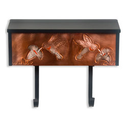 Hummingbirds Locking Wall-Mount Copper Mailbox with Newspaper Holder - Hummingbirds and flowers decorate this locking wall mount copper mailbox with newspaper holder. A stainless steel lid conceals the mail slot and lock.