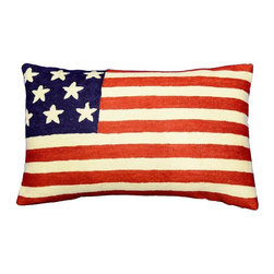 """Modern Wool - American Flag Pillow Cover Hand Embroidered 13"""" x 21"""" - American Flag Pillow Cover - The entire cotton base of the pillow is overlaid with soft wool, stitch by stitch, creating an extraordinary show piece for your decor. This is world-class workmanship created to enhance your world with dynamic color and motif."""
