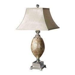 Uttermost Mother Of Pearl Table Lamp - Real roasted, mother of pearl with silver plated metal accents. This lamp base is roasted, mother of pearl with silver plated metal accents. The square bell shade is a silkened champagne textile.