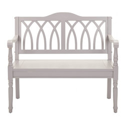 Safavieh - Benjamin Bench - Grey - The Benjamin bench takes a classic garden form and transports it indoors. Elegant finials on the sides under the arms, a back motif inspired by gothic architecture transform the grey finished pine Benjamin bench into a striking statement appropriate for entryways, living room and bedroom.