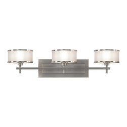 Murray Feiss - Murray Feiss Casual Luxury Bathroom Lighting Fixture in Brushed Steel - Shown in picture: Casual Luxury Vanity Strip in Brushed Steel finish with Silver Organza�Hardback shade w/fabric