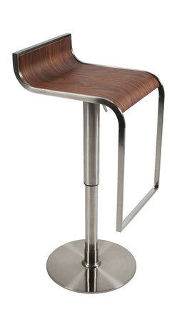 Eurostyle - Forest Bar/Counter Stool-Walnut/Satn - A modern take on natural beauty. This dramatic stool evokes a graceful waterfall. You can see how the subtle backrest flows into the seating area, which then drops slightly over the edge toward the footrest.