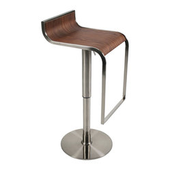 Forest Bar/Counter Stool-Walnut/Satn - A modern take on natural beauty. This dramatic stool evokes a graceful waterfall. You can see how the subtle backrest flows into the seating area, which then drops slightly over the edge toward the footrest.