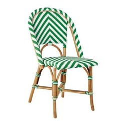 Serena & Lily - Chevron Riviera Side Chair Kelly Green - What could be better than our timeless Riviera Chair? The same sleek frame (inspired by the bistros of 1930s Europe) in a bold new chevron pattern. We love the classic colour mix, too a rich shade against a crisp white. Handcrafted of sustainable rattan with a woven plastic seat and back, it's great inside or in the garden. Look closely and you'll notice the wonderfully organic marks created while bending and stretching the rattan into shape a time-honored technique perfected by the French. Try it with the other silhouettes in this collection. A slight variation in how the colors are woven keeps things interesting.   View dimensions