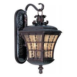 Joshua Marshal - Three Light Oil Rubbed Bronze Amber Seedy Glass Wall Lantern - Three Light Oil Rubbed Bronze Amber Seedy Glass Wall Lantern