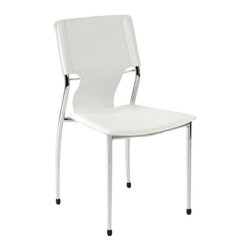 Eurostyle - Eurostyle Terry Side Chair in White Leatherette & Chrome [Set of 4] - Side Chair in White Leatherette & Chrome belongs to Terry Collection by Eurostyle Besides a strong steel frame and comfortable leatherette seat and back, the Terry stacking chair has a wonderful approach to back support. The carefully curved steel back support has just the slightest give to add major comfort. Side Chair (4)
