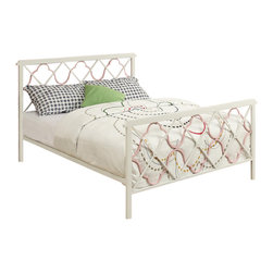 Adarn Inc - Youth White Juliette Bed w/ Metal Headboard Footboard Pink Quatrefoil Motif, Ful - Quatrefoil accents in pink add fun style to this bed with a rectangular metal headboard and footboard, constructed of strong 2-inch metal tubing. The pink ornamental shapes overlap with X-shapes to create a unique design that any girl is sure to love for her bedroom decor.