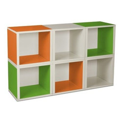Way Basics Modular 6 Cube Bookcase - Green/Orange/White - Go modular with the fun and functional Way Basics Modular 6 Cube Bookcase Green/Orange/White. It's easy to get stylishly creative with this set of 6 storage cubes. Simply stack this set of cubes in any configuration and provide the perfect spot for your books magazines toys or collectables. Assembly is a snap; just peel and stick the 3M Brand adhesive strips and assemble. No tools required. Each eco-friendly cube is manufactured with our durable zBoard recycled paperboard material making it lightweight strong water resistant and best of all completely recyclable. About Way BasicsWay Basics is an innovator of eco-friendly furniture and has been creating a wide variety of products using recycled materials for their customers to enjoy in the home and office. Their products require no tools to assemble and are designed to add style and function to any space without leaving a heavy footprint on the environment. Way Basics also works with furniture banks and charities around the globe to help those families in need and is a founding member of the Sustainable Furnishings Council a coalition united to promote environmentally healthy practices in the industry.