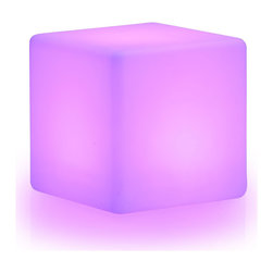 None - LuminArt Spectrum LED Color-changing Cube with Remote - This modern light brings a splash of color to any room. From indoors to outdoors,this light is a great choice for a party or other gathering,or even for everyday use. Place it in a living room,bedroom or backyard for an eye-catching accent any time.