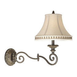 Vaxcel Lighting - Vaxcel Lighting DY-WLS130FP Dynasty Traditional Swing Arm Wall Sconce - Swing arm with 3-way switch, 8' cord with polarized plug and 3' cord cover included.