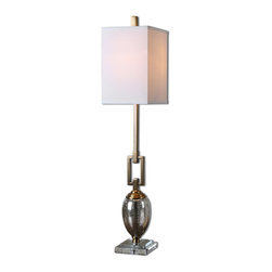 Mortise & Tenon - Hopeland Lamp - Speckled mercury glass accented with coffee bronze plated details and a crystal foot. The square hardback shade is an off-white linen fabric.