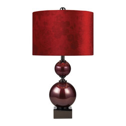 Dimond Lighting - Dimond Lighting Everson 111-1073 Table Lamp in Cherry Glass & Black Nickel - 111-1073 Table Lamp in Cherry Glass & Black Nickel belongs to Everson Collection by Dimond Lighting Table Lamp (1)