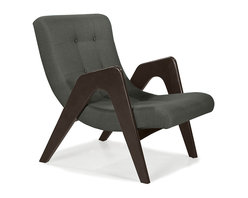 Younger - Edie Lounge Chair - It's okay to stare when you find yourself utterly intrigued by this cleverly designed chair. Cozying up in this seat is like lounging in an ultramodern, indoor hammock. The solid wood frame and lovely gray upholstery keeps this venturesome chair grounded and practical.