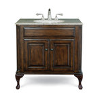 Cole and Co - Classic Vanity - Large in Antique Brown - This traditional chest is made of the finest select alder solids and cherry veneers, distressed and then finished in our old-world finish and completed with antique bronze hardware. The Classic features raised panel ends and hard-carved Queen Anne legs. The Estate features raised panel ends and ball-and-claw legs.  Cole & Co. offers a coordinated selection of stone tops, faucet sets in the latest finishes, and a wide selection of sinks so you can create your own custom look.  All tops are pre-cut for a 14. Dimensions: 40 in. x 22 in.