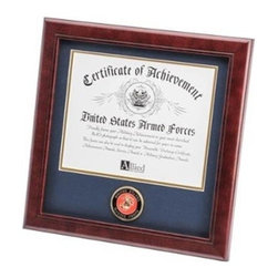 Flags Connections - U.S. Marine Corps Medallion Certificate Frame - U.S. Marine Corps Medallion Certificate Frame is designed to hold a single 8-Inch by 10-Inch document, certificate, award, diploma or picture. This picture is set into a double layer of Marine Blue matting with Gold trim. The frame is made from Mahogany colored wood, and the outside dimensions measure 14-Inches by 14-Inches. The U.S. Marine Corps Medallion 8-Inch by 10-Inch Certificate Frame is perfect for proudly displaying the picture of an individual who is serving, or has served in the U.S. Marine Corps.