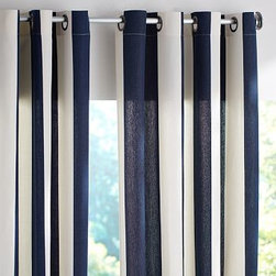 """PB Classic Stripe Outdoor Canvas Grommet Drape, 50 x 108"""", Ink Blue - Awning stripes add an all-American appeal to our outdoor drape. Use it to transform a porch or patio into a comfortable spot to lounge. 50"""" wide; available in three lengths Made from weather-resistant polyester. Tie backs included. Can also be used indoors for extra light filtration. Dry-clean. Catalog / Internet only. Imported."""