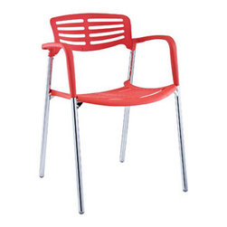"LexMod - Fleet Stacking Chair in Red - Fleet Stacking Chair in Red - Bring versatility to your meetings and events with a sturdy chair that fits all occasions. The Fleet stacking chair is made of stainless steel with a fashionable hard plastic seat and arm covering. The design is sleek and compact while providing the seating room necessary to accommodate your guests comfortably. Fleet stacks for easy storage.br /Set Includes:br /One - Fleet Metal Stacking Meeting Chair Sleek meeting or event chair, Sturdy chrome metal construction, Hard plastic seat and arm coating, Fully stackable, Comes fully assembled Overall Product Dimensions: 22.5""L x 22""W x 31""H Seat Height: 22.5""L x 22""W x 18""H Armrest Height: 27.5""H - Mid Century Modern Furniture."