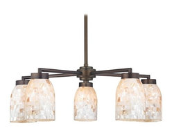 Design Classics Lighting - Chandelier with Mosaic Glass - Five Lights - 590-220 GL1026D - Country / cottage neuvelle bronze 5-light chandelier with dome glass shades. Includes one 6-inch and three 12-inch down rods that allow this chandelier to hang at a minimum height of 17-3/4-inches up to a maximum of 53-1/8-inches. Takes (5) 100-watt incandescent A19 bulb(s). Bulb(s) sold separately. UL listed. Dry location rated.