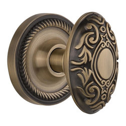 Nostalgic - Nostalgic Mortise-Rope Rose-Victorian Knob-Antique Brass (NW-702545) - Rope Rose with Victorian Knob - Mortise