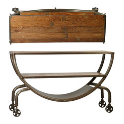 Habitat Home & Garden - Iron Half Round Plasma Stand - The Iron Half Round Plasma Stand features an iron frame with teak shelves and wheels. This cool piece will be the perfect solution for your entertaining needs.