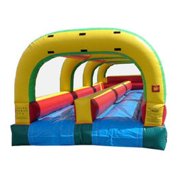 Kidwise - Kidwise Slip & Slide Double Lane Inflatable Slide - KE-WS4302 - Shop for Tents and Playhouses from Hayneedle.com! The classic backyard favorite gets an air-filled boost of excitement with the Kidwise Slip and Slide Double Lane Inflatable Slide. This monstrous commercial grade inflatable will be the main feature at birthday parties church functions fairs festivals or block parties. It s made of durable 18-ounce colorful PVC vinyl and features a double lane design for side by side sliding action and comes complete with blower repair kit stakes and tarp.About Kidwise ProductsThis item is made by Kidwise Outdoors a company whose focus is safe fun excitement for kids. Kidwise strives to promote safe play for kids of all ages through outside activities. Their line of products includes swing sets trampolines inflatable bouncers bikes sport goals and many other items to choose from. Kidwise guarantees all of their products against defects. Like Hayneedle their goal is 100% satisfaction from customers. Their product lines focus on kid-friendly items that are fun to play with and stimulate balance and a healthy lifestyle for kids.