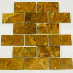 "2"" x 4""Multi Brown Polished Mesh-Mounted Onyx Mosaic Tiles - 2"" x 4"" Multi Brown Onyx Mesh-Mounted Mosaic Tile is a great way to enhance your decor with a traditional aesthetic touch. This Polished Mosaic Tile is constructed from durable, impervious Onyx material, comes in a smooth, unglazed finish and is suitable for installation on floors, walls and countertops in commercial and residential spaces such as bathrooms and kitchens."