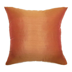 "The Pillow Collection - Veristi Plain Pillow Rust 18"" x 18"" - Sophisticated and warm, this plush throw pillow is a great addition to your home decor. The lovely mix of rust hues in yellow and orange creates a vivid and rich background. This accent pillow is a stunning statement piece. Incorporate this decor pillow with interesting patterns like ikats, toiles, stripes and zigzags to add character to your room. This square pillow comes with a smooth texture and made from 100% soft silk fabric. Hidden zipper closure for easy cover removal.  Knife edge finish on all four sides.  Reversible pillow with the same fabric on the back side.  Spot cleaning suggested."