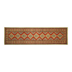 Manhattan Rugs - New Runner Super Veg Dyed Kazak 3'x10' Hand Knotted Wool Red Geometric Rug H5895 - Kazak (Kazakh, Kasak, Gazakh, Qazax). The most used spelling today is Qazax but rug people use Kazak so I generally do as well.The areas known as Kazakstan, Chechenya and Shirvan respectively are situated north of  Iran and Afghanistan and to the east of the Caspian sea and are all new Soviet republics.   These rugs are woven by settled Armenians as well as nomadic Kurds, Georgians, Azerbaijanis and Lurs.  Many of the people of Turkoman origin fled to Pakistan when the Russians invaded Afghanistan and most of the rugs are woven close to Peshawar on the Afghan-Pakistan border.There are many design influences and consequently a large variety of motifs of various medallions, diamonds, latch-hooked zig-zags and other geometric shapes.  However, it is the wonderful colours used with rich reds, blues, yellows and greens which make them stand out from other rugs.  The ability of the Caucasian weaver to use dramatic colours and patterns is unequalled in the rug weaving world.  Very hard-wearing rugs as well as being very collectable