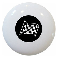 Carolina Hardware and Decor, LLC - Black Checkered Flag Ceramic Knob - New 1 1/2 inch ceramic cabinet, drawer, or furniture knob with mounting hardware included. Also works great in a bathroom or on bi-fold closet doors (may require longer screws). Item can be wiped clean with a soft damp cloth. Great addition and nice finishing touch to any room!