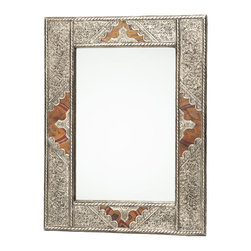 """20"""" Moroccan Metal and Leather Mirror - Add a distinctive accent to your space with a hand-crafted Moroccan mirror. Features hand-tooled metal and embellished leather on wood foundation. Measures approximately 19.75 inches x 15.75 inches. Artisan-crafted in Morocco and responsibly sourced by Moroccan Buzz. Photo by George Filgate."""