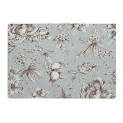 Light Blue Floral Toile Custom Placemat Set - Is your table looking sad and lonely? Give it a boost with at set of Simple Placemats. Customizable in hundreds of fabrics, you're sure to find the perfect set for daily dining or that fancy shindig. We love it in this beautiful sky blue & gray toile floral cotton sateen. modern or traditional? you be the judge.