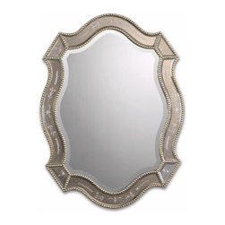 Uttermost - Uttermost Felicie Oval 28x21 Wall Mirror - This shapely mirror features golden antiqued, etched mirrors accented by heavily antiqued gold leaf beaded edges.
