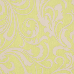 Romosa Wallcoverings - Citrus Green / Gray Modern Adore Splashy Corsage Wallpaper - - This is a non woven wallpaper. Easy to hang.